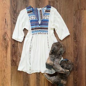 Umgee boho white and blue dress